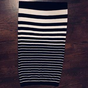 Striped knit mid length skirt